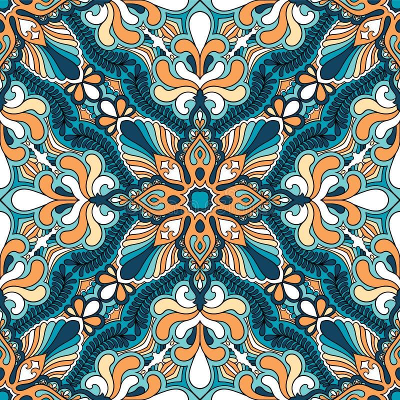 传染媒介佩兹利方巾装饰品印刷品 丝绸头巾,枕头,内部装饰正方形设计图片