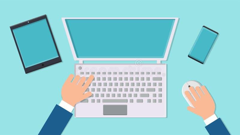 传染媒介例证一个人商人的工作场所书桌与现代数字计算机膝上型计算机的有老鼠和键盘的,片剂 向量例证