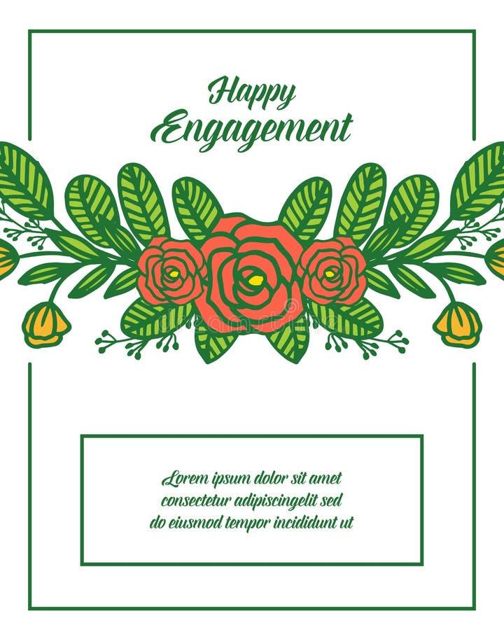 传染媒介例证与愉快的订婚的邀请的花圈框架 库存例证