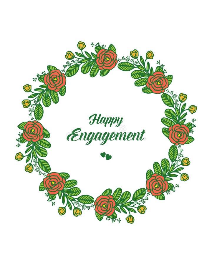 传染媒介例证与愉快的订婚的邀请的花圈框架 向量例证