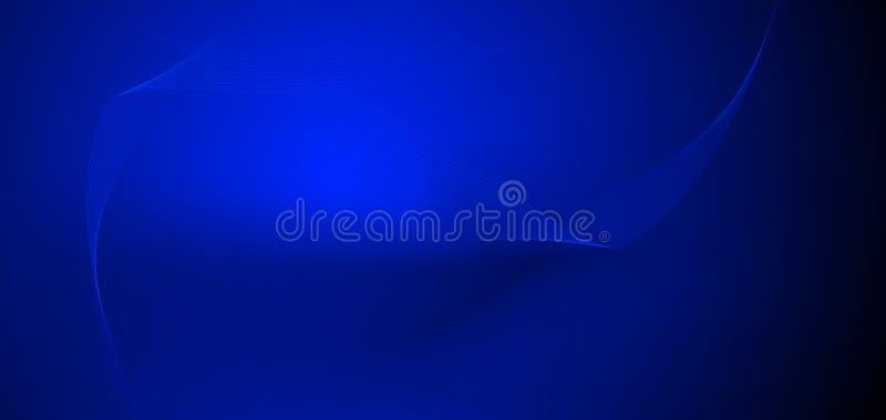 传染媒介例证光滑的线在深蓝颜色背景中 高科技数字技术概念 抽象未来派,发光 皇族释放例证