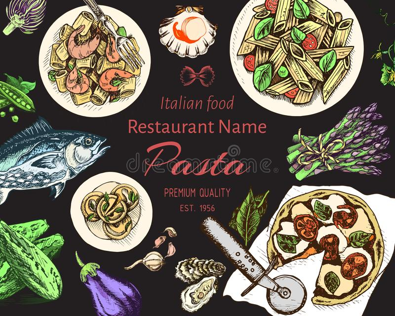 传染媒介例证剪影-面团 卡片resraurant菜单的意大利语 向量例证
