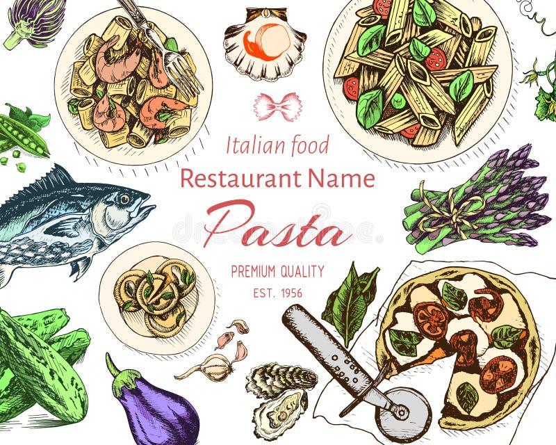 传染媒介例证剪影-面团 卡片resraurant菜单的意大利语 库存例证