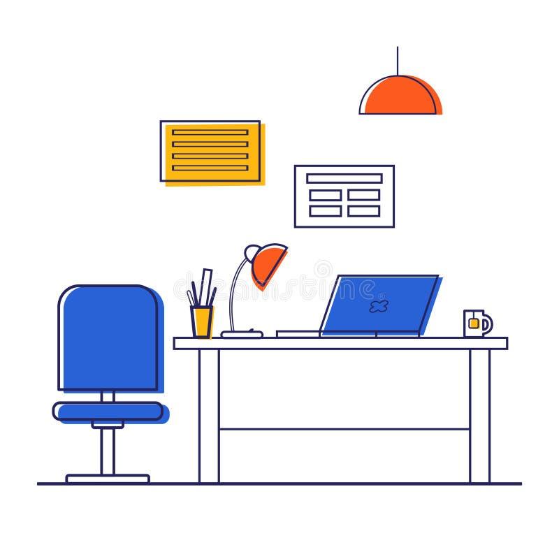传染媒介例证办公室内部,办公室装饰:书桌,计算机,膝上型计算机,台灯 办公家具 库存例证