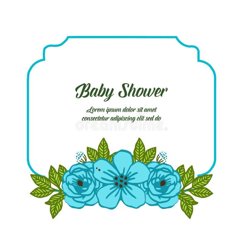 传染媒介例证各种各样的蓝色花构筑婴儿送礼会的绽放 库存例证