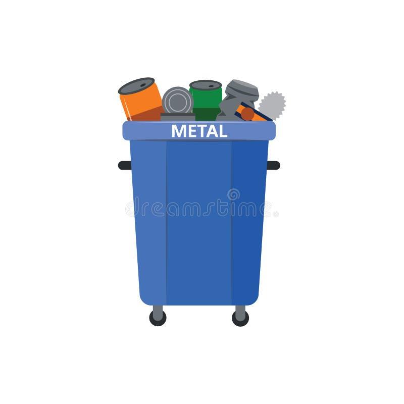 传染媒介例证回收垃圾的金属类型的废物箱 向量例证