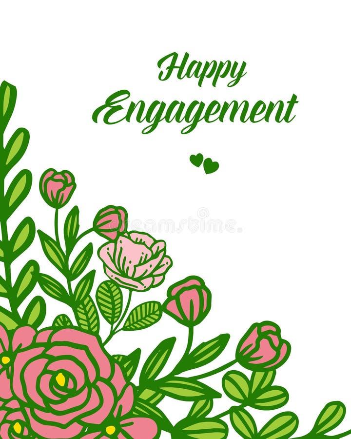 传染媒介例证图画华丽卡片愉快的订婚的花框架 皇族释放例证