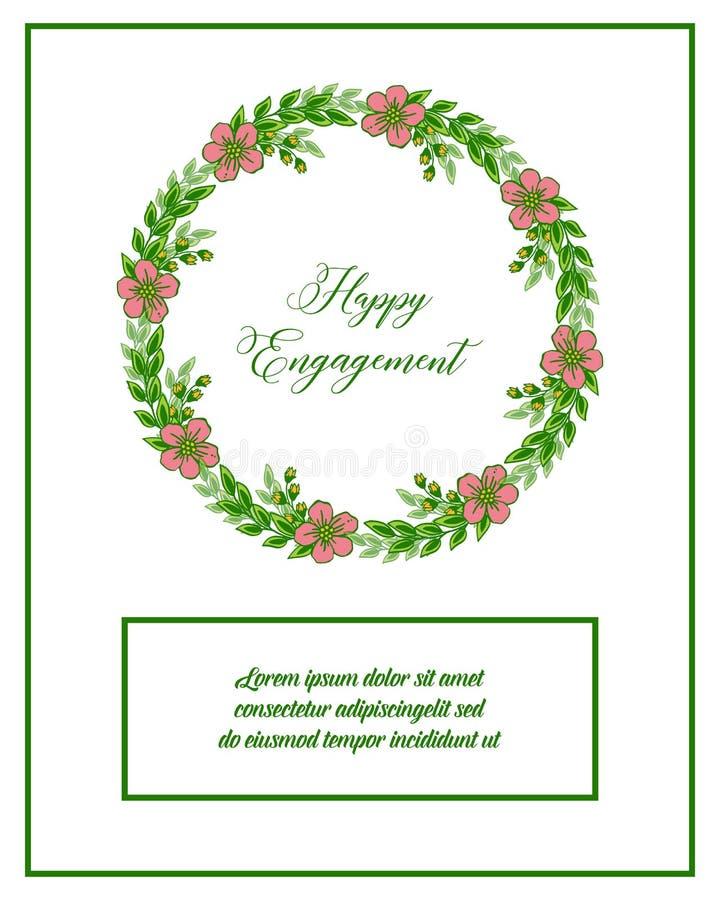 传染媒介例证图画愉快的订婚的邀请的花框架 皇族释放例证
