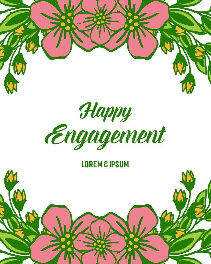 传染媒介例证图画愉快的订婚的邀请的花框架 库存例证
