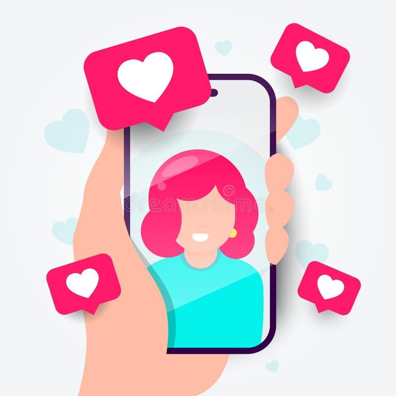 传染媒介例证在电话的约会应用程序 网上通信和连接 搜寻浪漫关系 库存例证