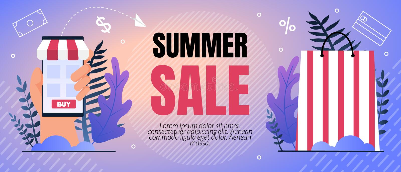 传染媒介例证夏天销售百分之字法 库存例证