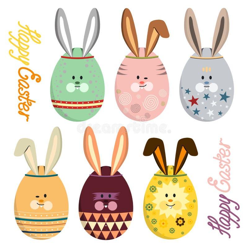 传染媒介例证套与兔宝宝面孔和耳朵的五颜六色的鸡蛋 库存例证