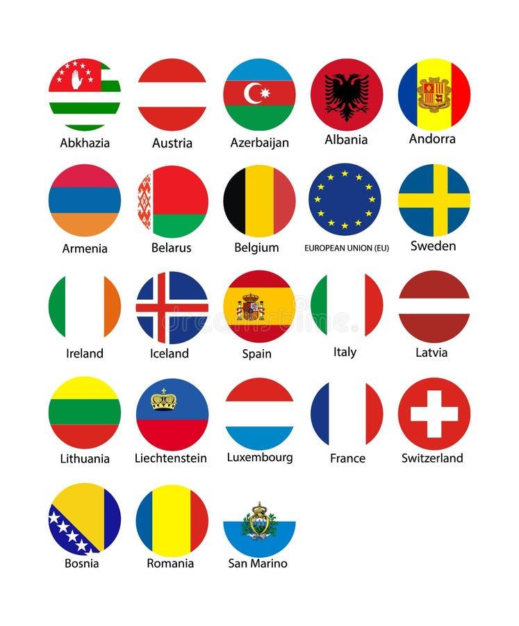传染媒介例证套与名字的欧盟旗子 库存例证
