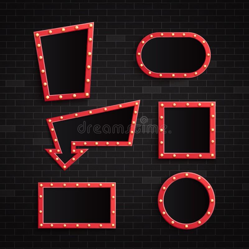 传染媒介例证套与有启发性电灯泡的减速火箭的红色空白的框架在黑暗的砖墙背景 皇族释放例证