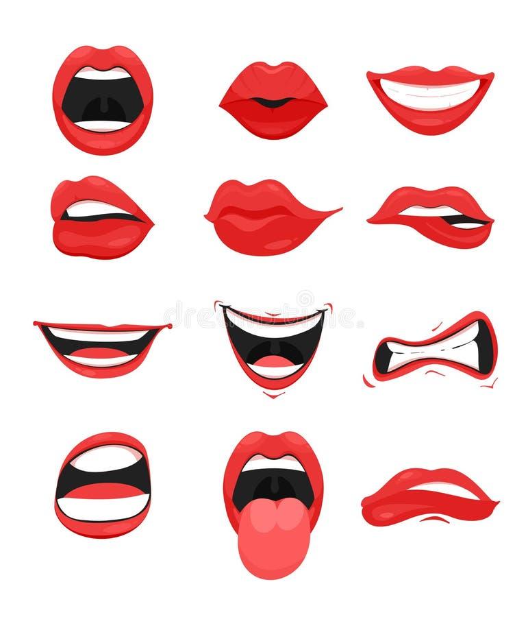 传染媒介例证套与红色嘴唇表示面部姿态收藏的逗人喜爱的嘴 微笑的黏附,责骂 库存例证