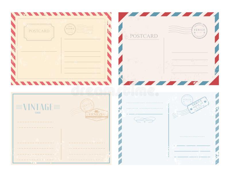 传染媒介例证套与邮票在减速火箭的设计和淡色的葡萄酒明信片在白色背景 库存例证