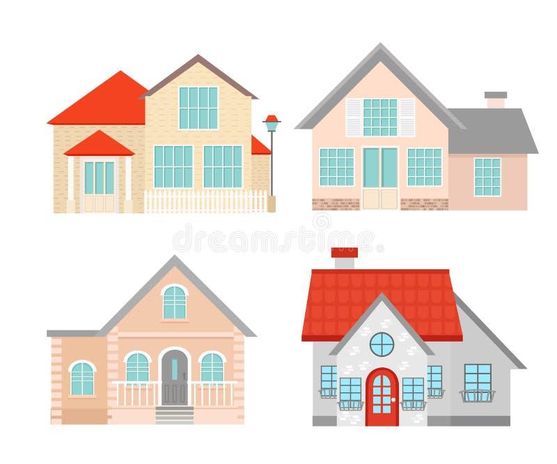 传染媒介例证套五颜六色的平的住宅房子 城内住宅村庄 在白色隔绝的修造的集合 皇族释放例证
