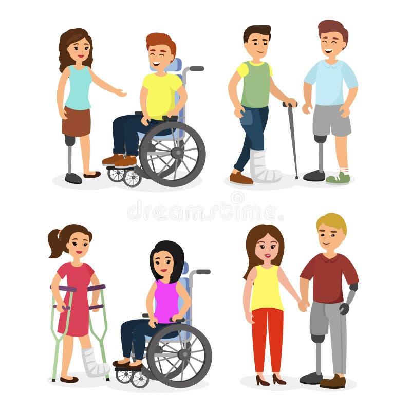 传染媒介例证套残疾人和有残障与帮助他们,平的动画片样式的朋友 库存例证