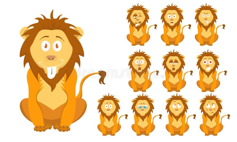 传染媒介例证套滑稽的与表情的动画片小的棕色野生狮子 向量例证
