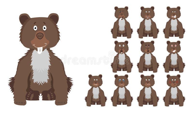 传染媒介例证套滑稽的与表情的动画片褐色狂放的熊 向量例证