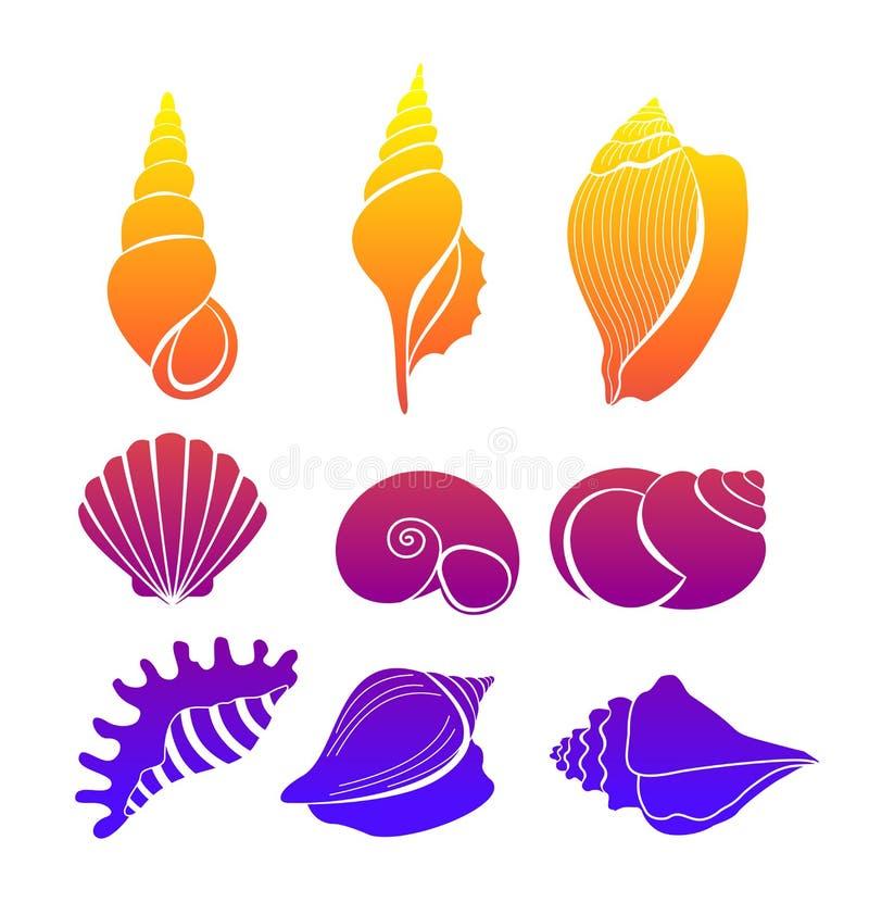 传染媒介例证套贝壳,明亮的色的海轰击在白色背景隔绝的剪影 库存例证