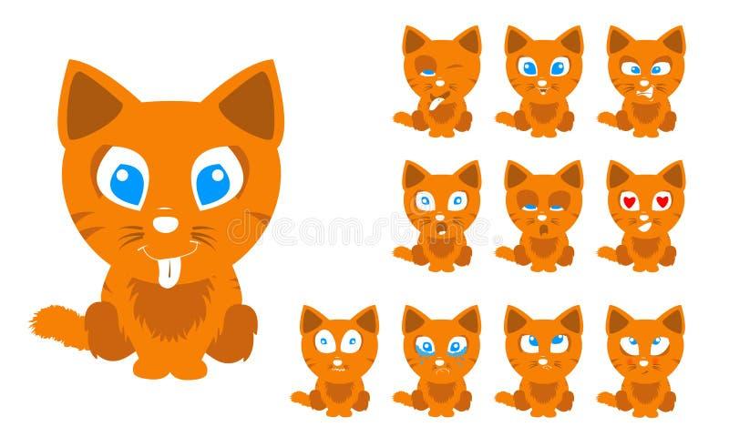 传染媒介例证套逗人喜爱和滑稽的与表情的动画片小的橙色猫 皇族释放例证