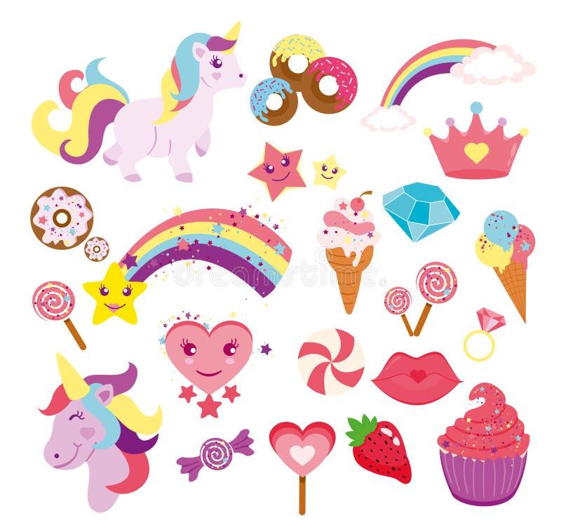 传染媒介例证套逗人喜爱的独角兽、星、彩虹和元素您的设计的在平的样式 向量例证