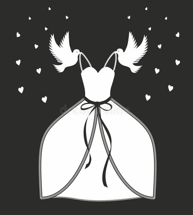 传染媒介例证婚纱 灰姑娘- askungen启发 象在童话当中的鸽子运载的礼服 向量例证