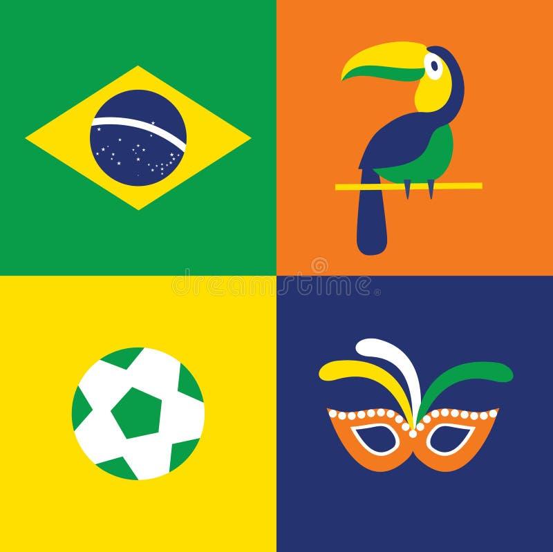 传染媒介例证巴西的象套:旗子,鸟,面具,橄榄球 库存例证