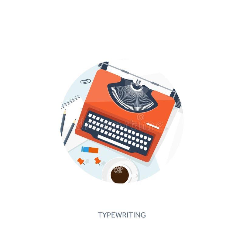 传染媒介例证平的打字机 递膝上型计算机 讲您的故事 编写的 Blogging 向量例证