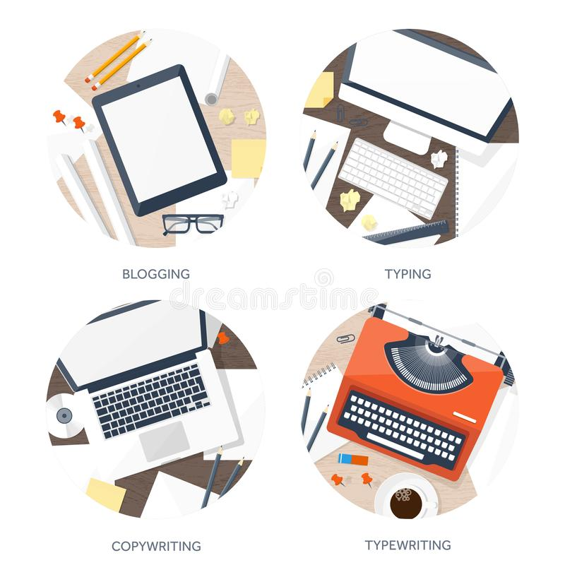 传染媒介例证平的打字机 递膝上型计算机 讲您的故事 编写的 Blogging 库存例证