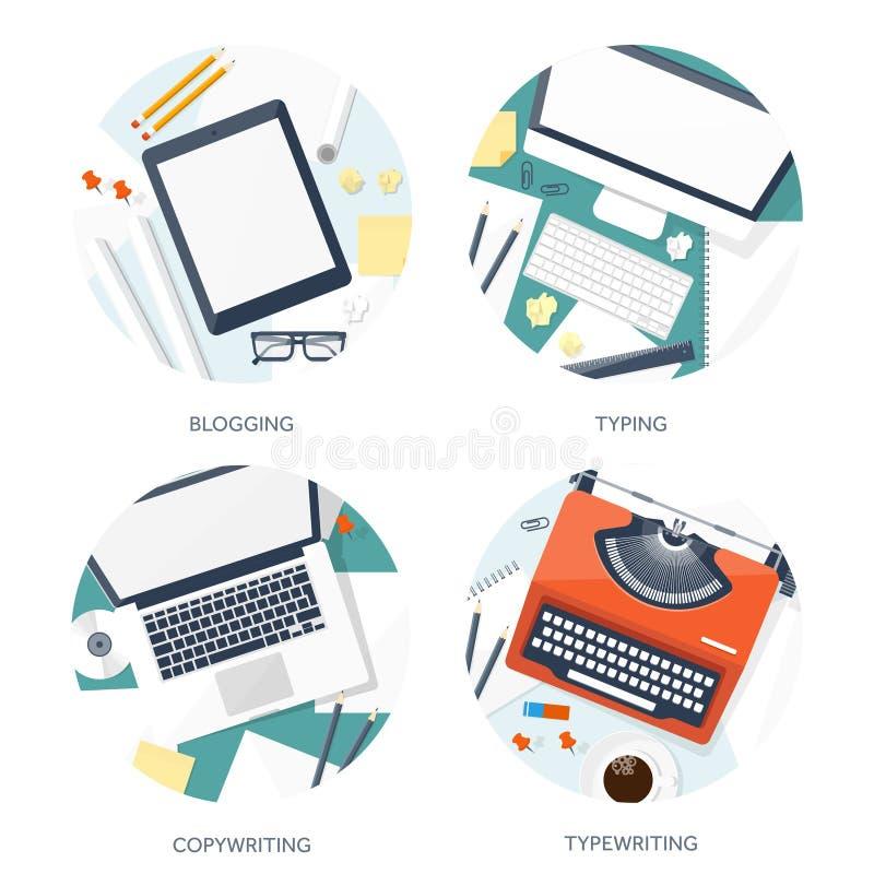 传染媒介例证平的打字机 递膝上型计算机 讲您的故事 编写的 Blogging 皇族释放例证