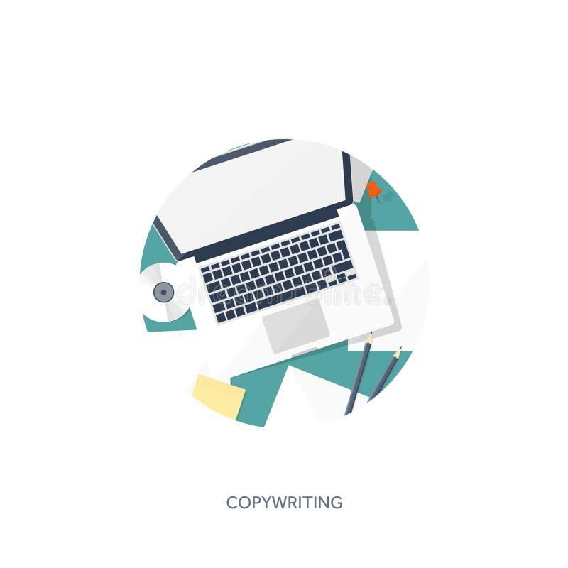 传染媒介例证平的样式 递膝上型计算机 讲您的故事 编写的 Blogging 库存例证