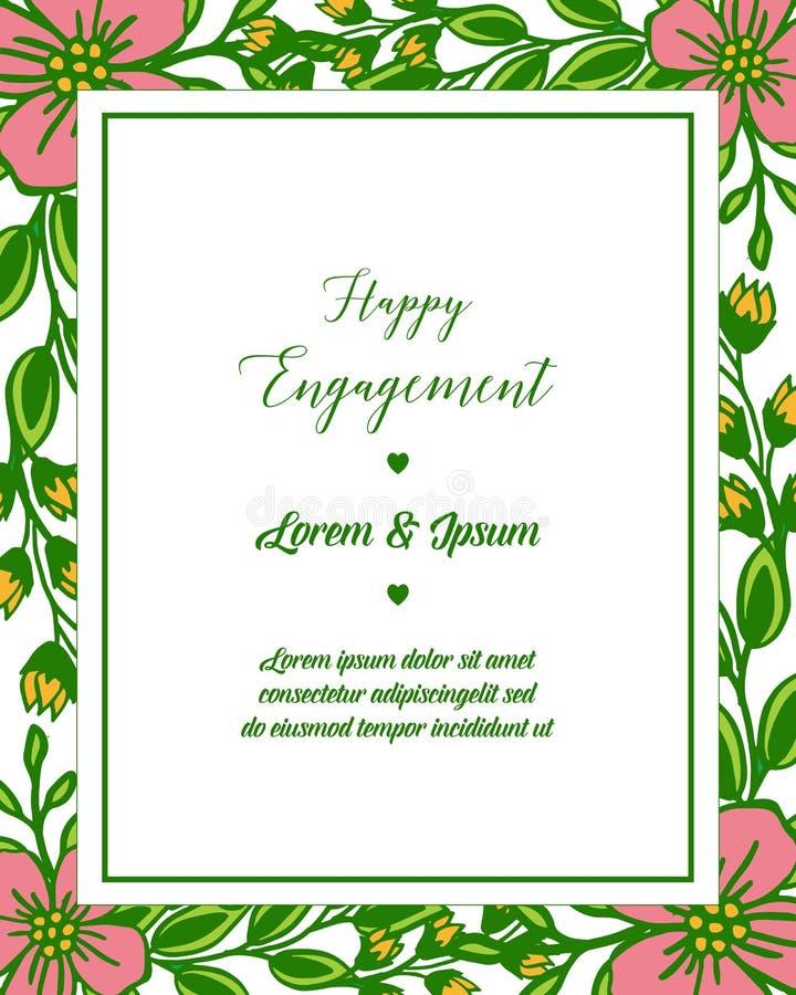 传染媒介例证愉快的订婚卡片模板与花框架设计的  皇族释放例证