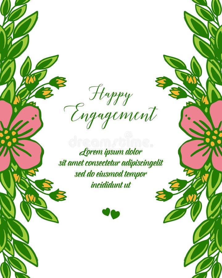 传染媒介例证愉快的订婚样式文字画的花框架的 皇族释放例证