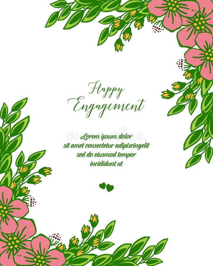 传染媒介例证愉快的订婚样式文字画的花框架的 库存例证