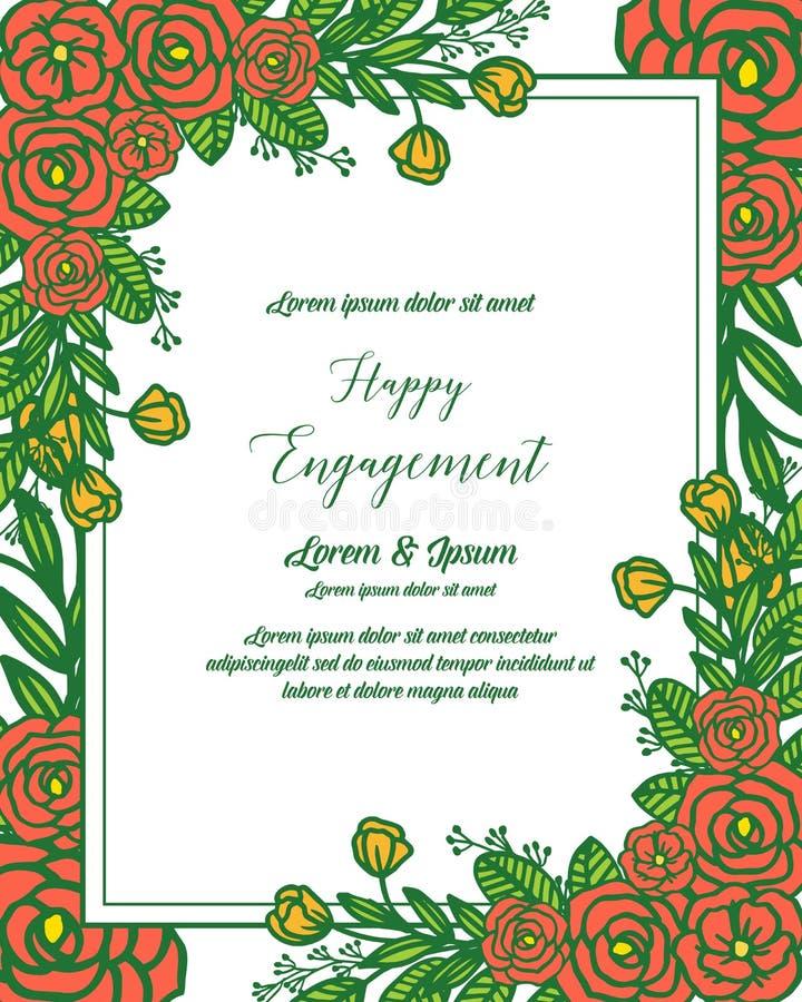 传染媒介例证愉快的订婚贺卡与开花花框架的 向量例证