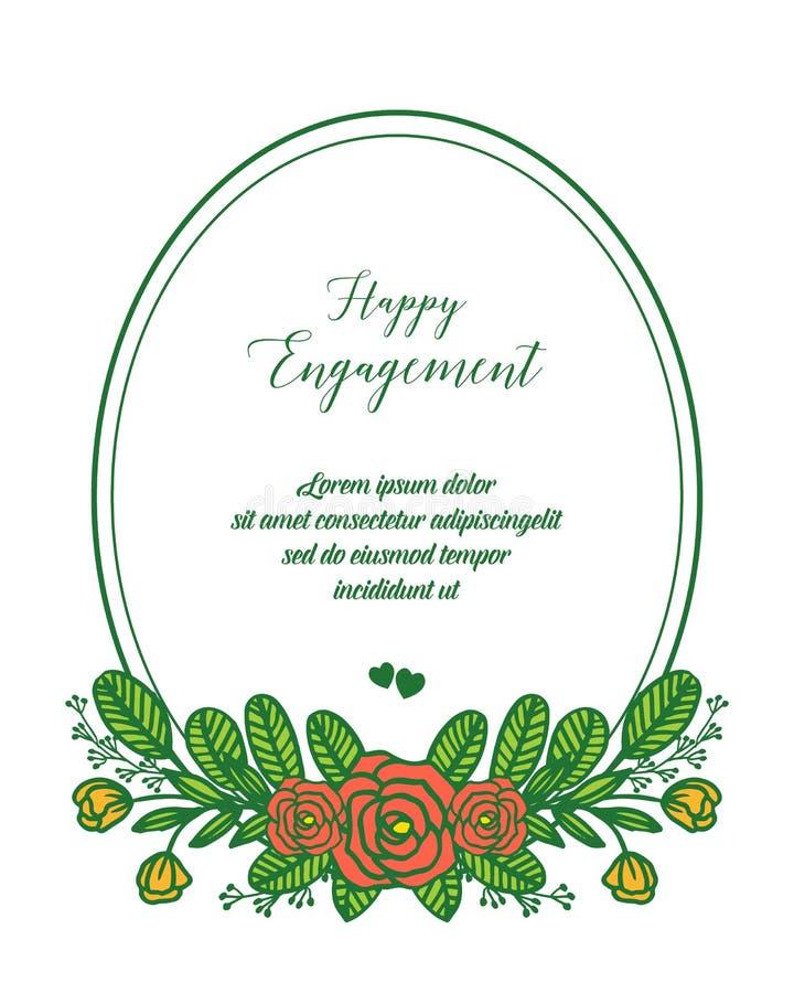 传染媒介例证愉快的订婚贺卡与开花花框架的 库存例证