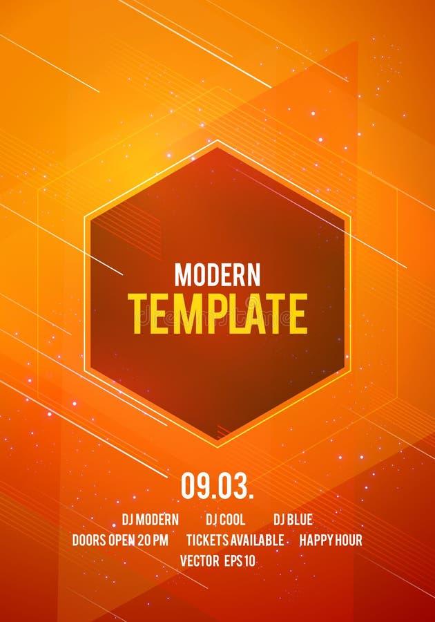 传染媒介例证摘要舞会海报与线、聚焦和现代几何形状的背景模板 音乐事件 库存例证