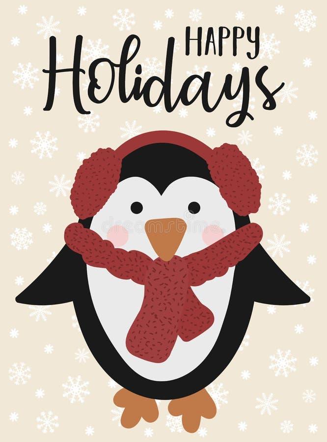 传染媒介例证新年和圣诞节 一只动画片逗人喜爱的企鹅的手拉的图象在一条红色围巾的在snowf背景  皇族释放例证
