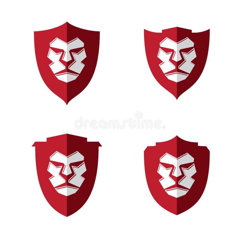 传染媒介例证有另外盾的狮子头您的最佳的企业标志的 库存例证