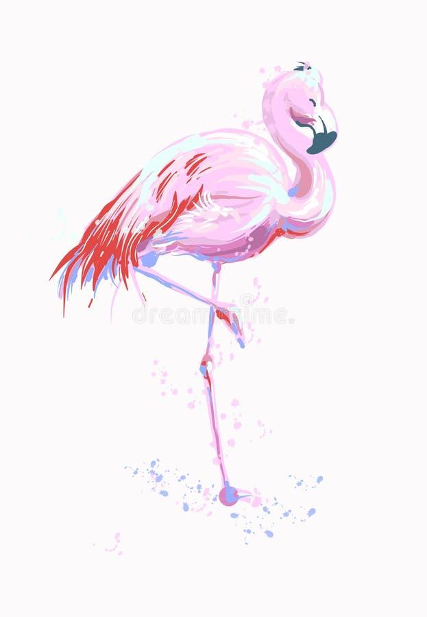 传染媒介例证桃红色火鸟 异乎寻常的鸟 凉快的火鸟装饰剪影徒手画的设计元素 可爱的火鸟 库存例证