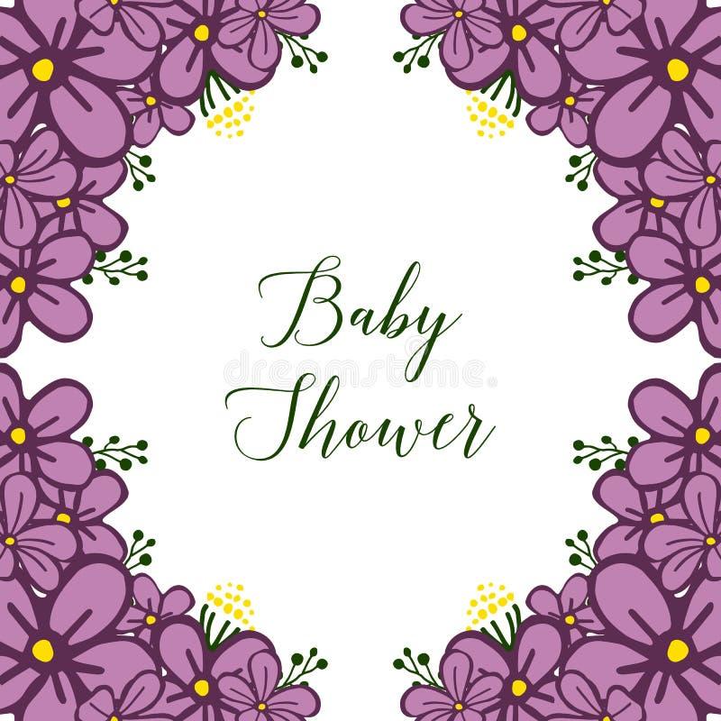 传染媒介例证横幅与非常明亮的紫色花框架的婴儿送礼会 皇族释放例证