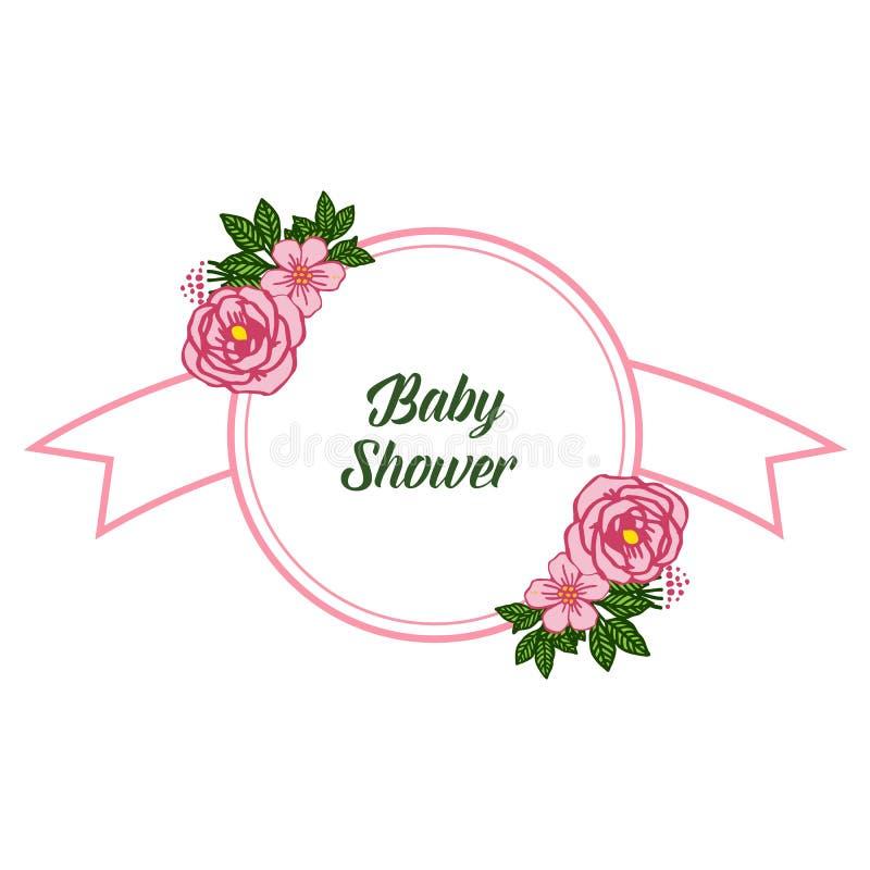 传染媒介例证海报与非常美好的桃红色玫瑰色花框架的婴儿送礼会 库存例证