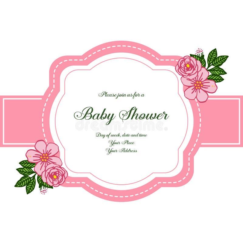 传染媒介例证海报与非常美好的桃红色玫瑰色花框架的婴儿送礼会 向量例证