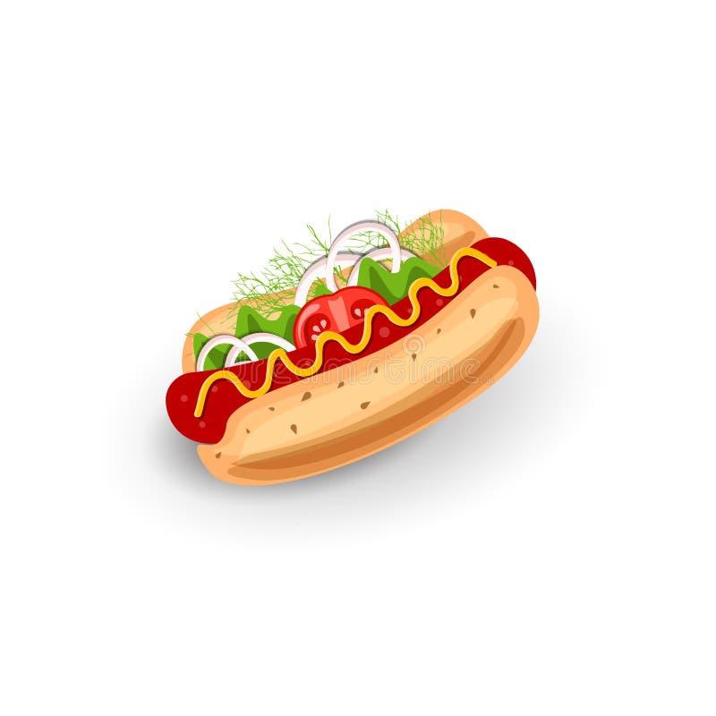 传染媒介例证热狗 在白色领域的被隔绝的象 快餐的经典标志 经典食物的概念为 库存例证