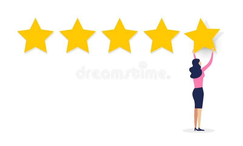 传染媒介例证用户经验反馈概念 动画片给五个星规定值的妇女顾客 在白色backg的回顾纸卷 向量例证