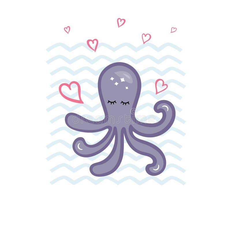 传染媒介例证用逗人喜爱的章鱼和心脏 皇族释放例证