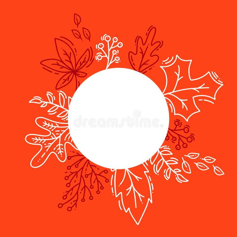 传染媒介例证秋天背景、树叶子、橙色背景、设计秋季横幅的,海报或者感恩节 皇族释放例证