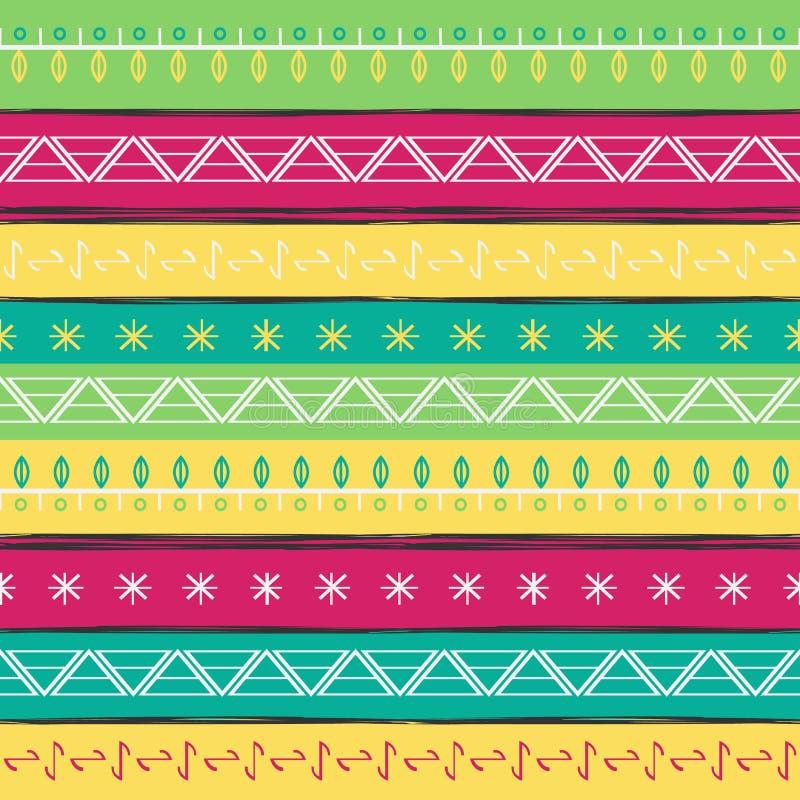 传染媒介例证种族无缝的样式 明亮的五颜六色的印刷品 库存例证